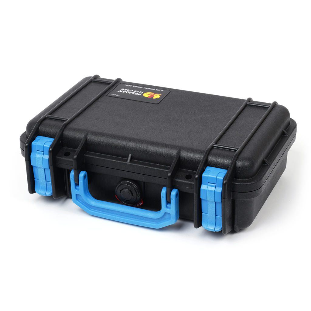 Pelican 1170 Colors Series, Black Protector Case with Blue Handle & Latches, Customizable Accessory Bundles
