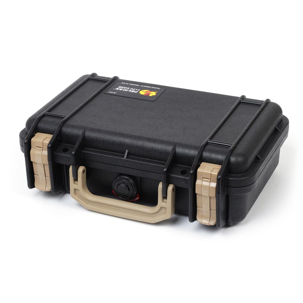 Pelican 1170 Colors Series, Black Protector Case with Desert Tan Handle & Latches, Customizable Accessory Bundles - Pelican Color Case