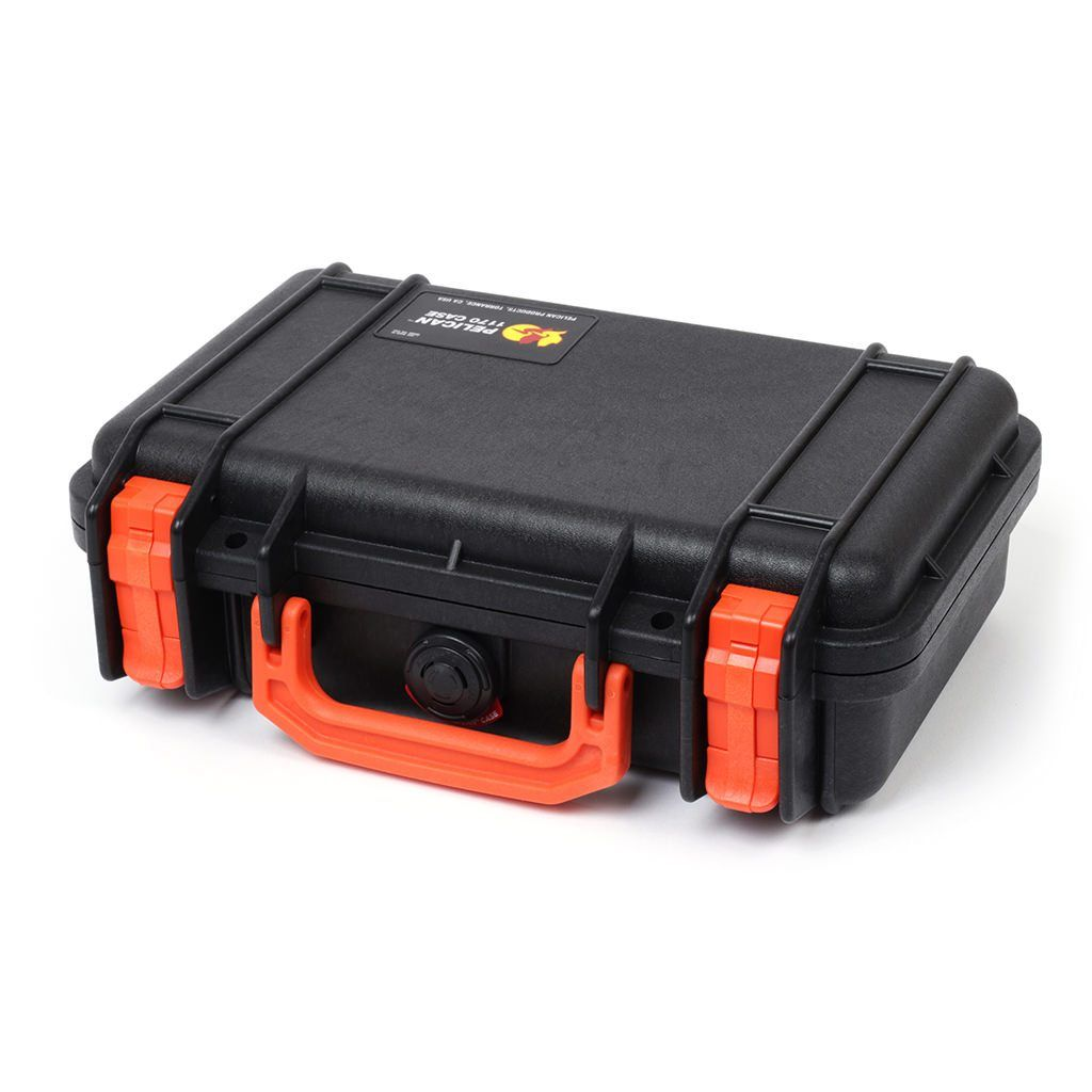 Pelican 1170 Case, Black with Orange Handle & Latches - Pelican Color Case