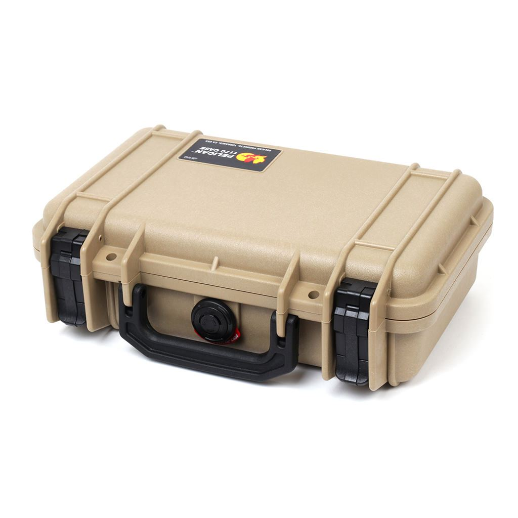 Pelican 1170 Colors Series, Desert Tan Protector Case with Black Handle & Latches, Customizable Accessory Bundles