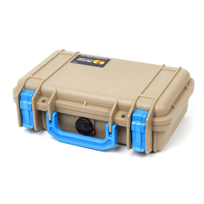 Pelican 1170 Colors Series, Desert Tan Protector Case with Blue Handle & Latches, Customizable Accessory Bundles - Pelican Color Case