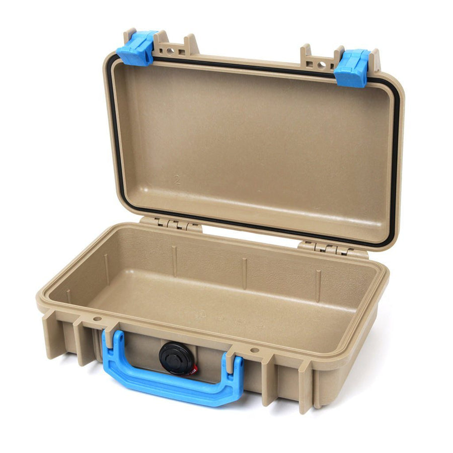 Pelican 1170 Colors Series, Desert Tan Protector Case with Blue Handle & Latches, Customizable Accessory Bundles