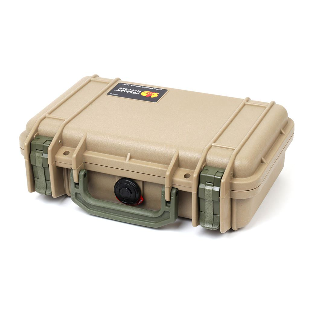 Pelican 1170 Colors Series, Desert Tan Protector Case with OD Green Handle & Latches, Customizable Accessory Bundles - Pelican Color Case