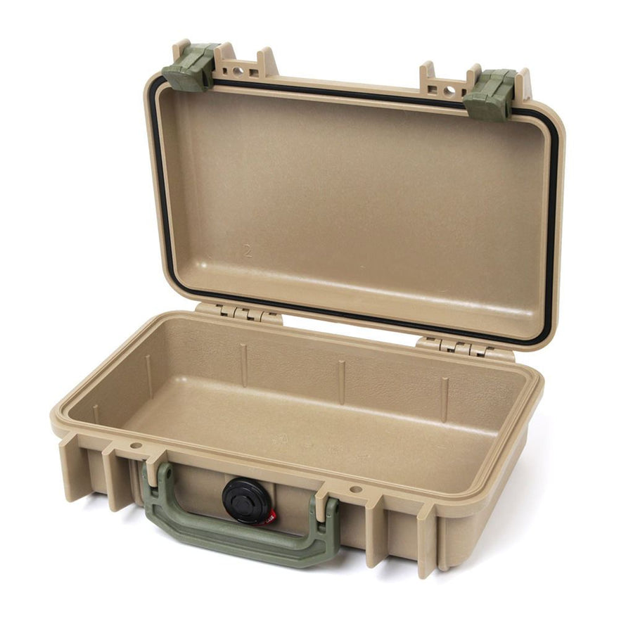 Pelican 1170 Colors Series, Desert Tan Protector Case with OD Green Handle & Latches, Customizable Accessory Bundles