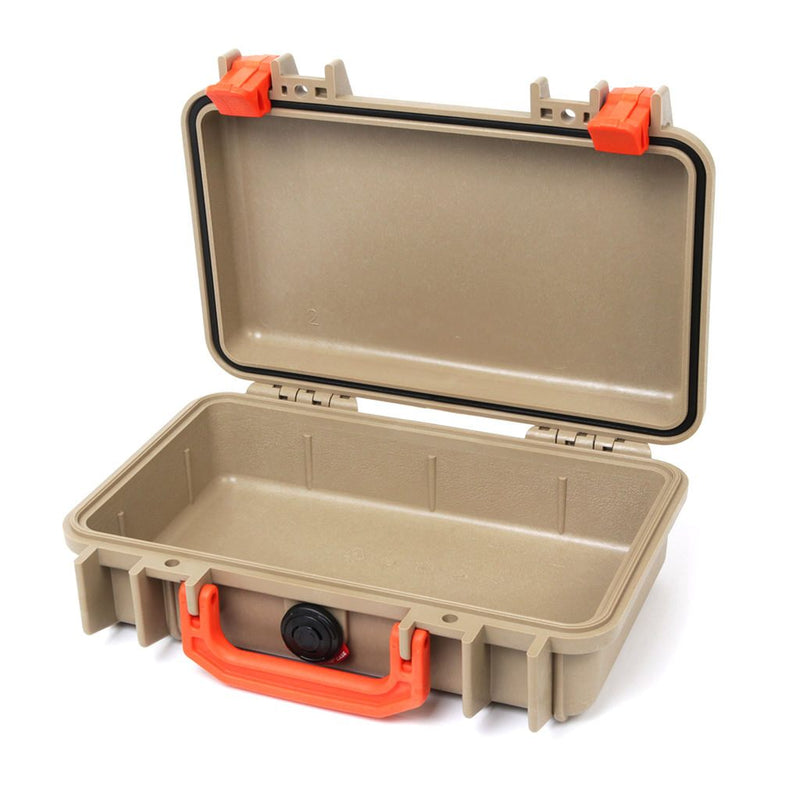 Pelican 1170 Colors Series, Desert Tan Protector Case with Orange Handle & Latches, Customizable Accessory Bundles