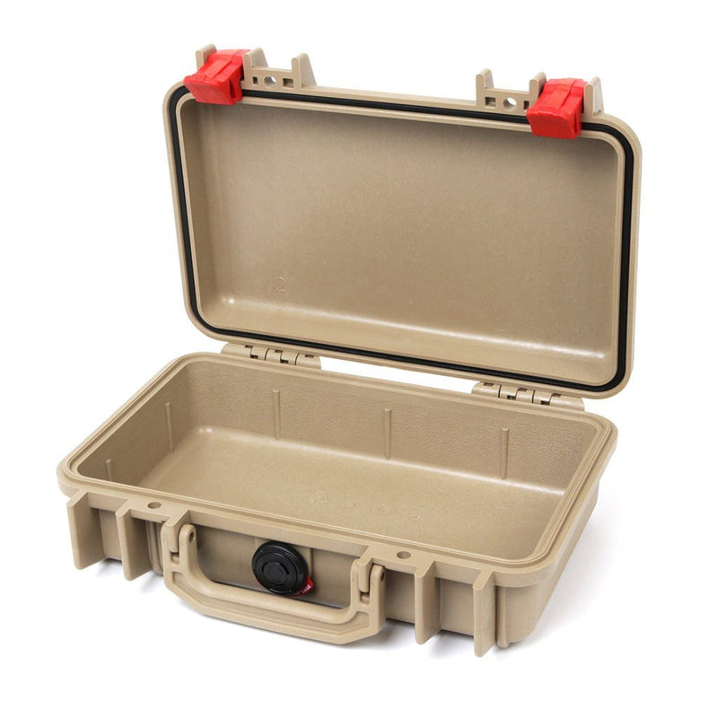 Pelican 1170 Colors Series, Desert Tan Protector Case with Red Latches, Customizable Accessory Bundles - Pelican Color Case