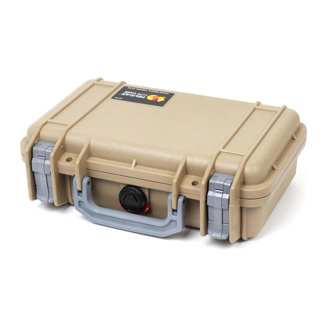 Pelican 1170 Colors Series, Desert Tan Protector Case with Silver Gray Handle & Latches, Customizable Accessory Bundles
