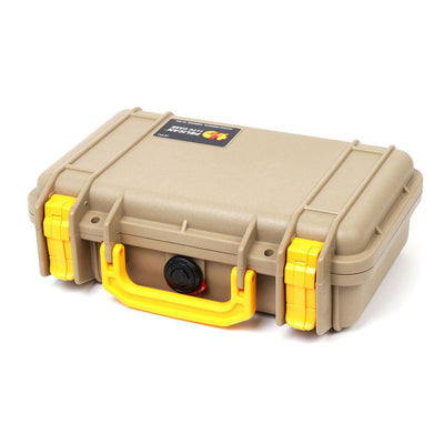 Pelican 1170 Case, Desert Tan with Yellow Handle & Latches - Pelican Color Case