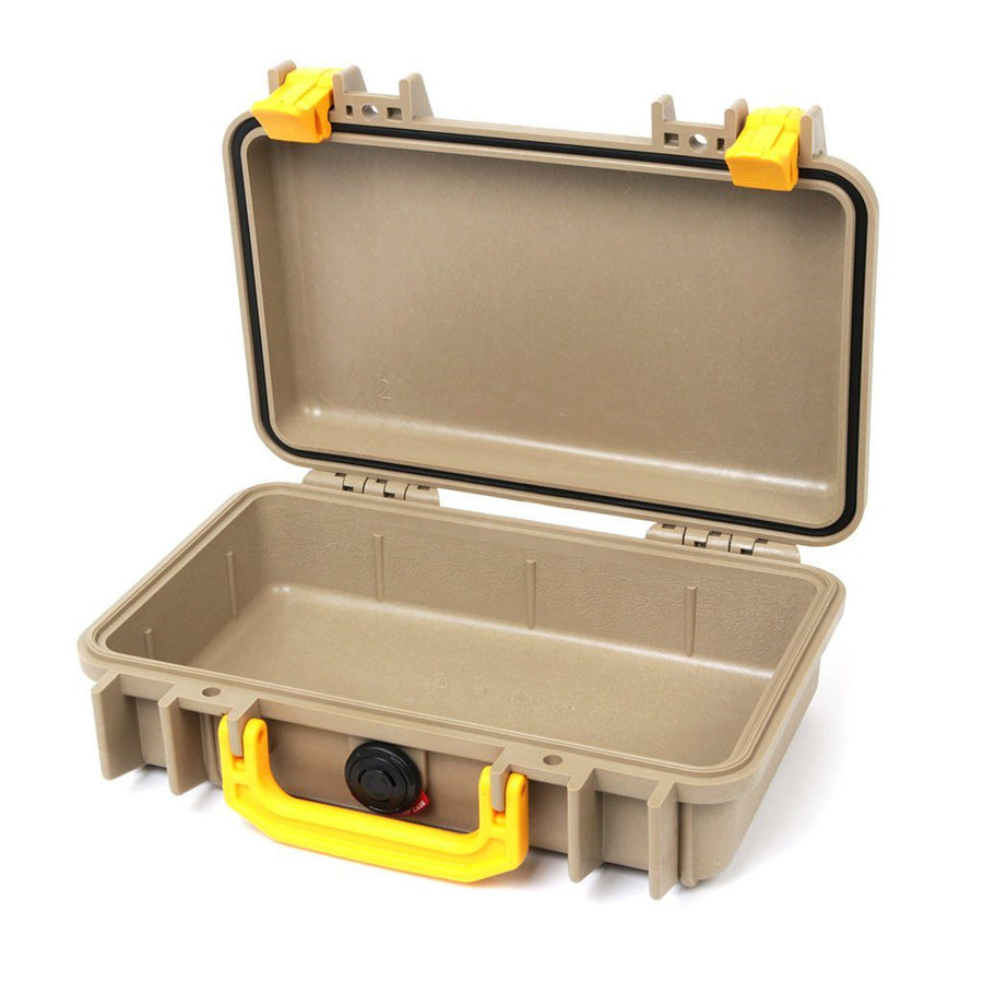 Pelican 1170 Colors Series, Desert Tan Protector Case with Yellow Handle & Latches, Customizable Accessory Bundles