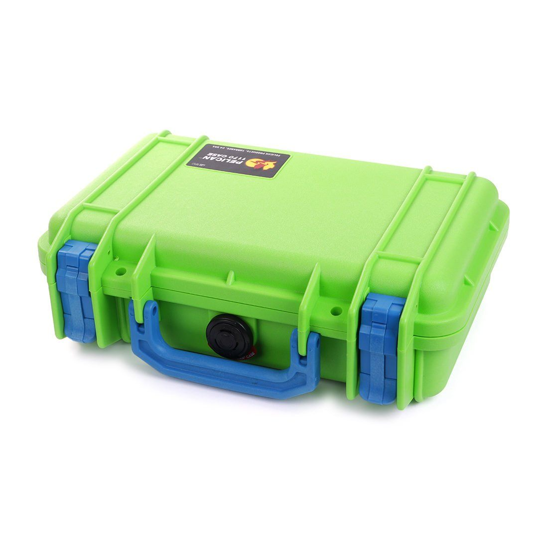Pelican 1170 Colors Series, Lime Green Protector Case with Blue Handle & Latches, Customizable Accessory Bundles - Pelican Color Case
