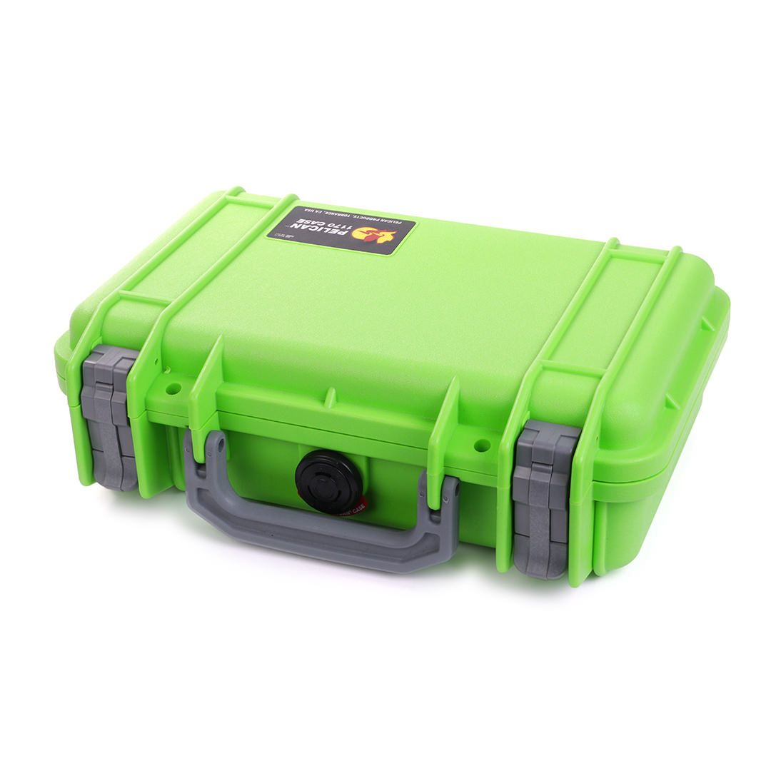 Pelican 1170 Colors Series, Lime Green Protector Case with Silver Gray Handle & Latches, Customizable Accessory Bundles - Pelican Color Case