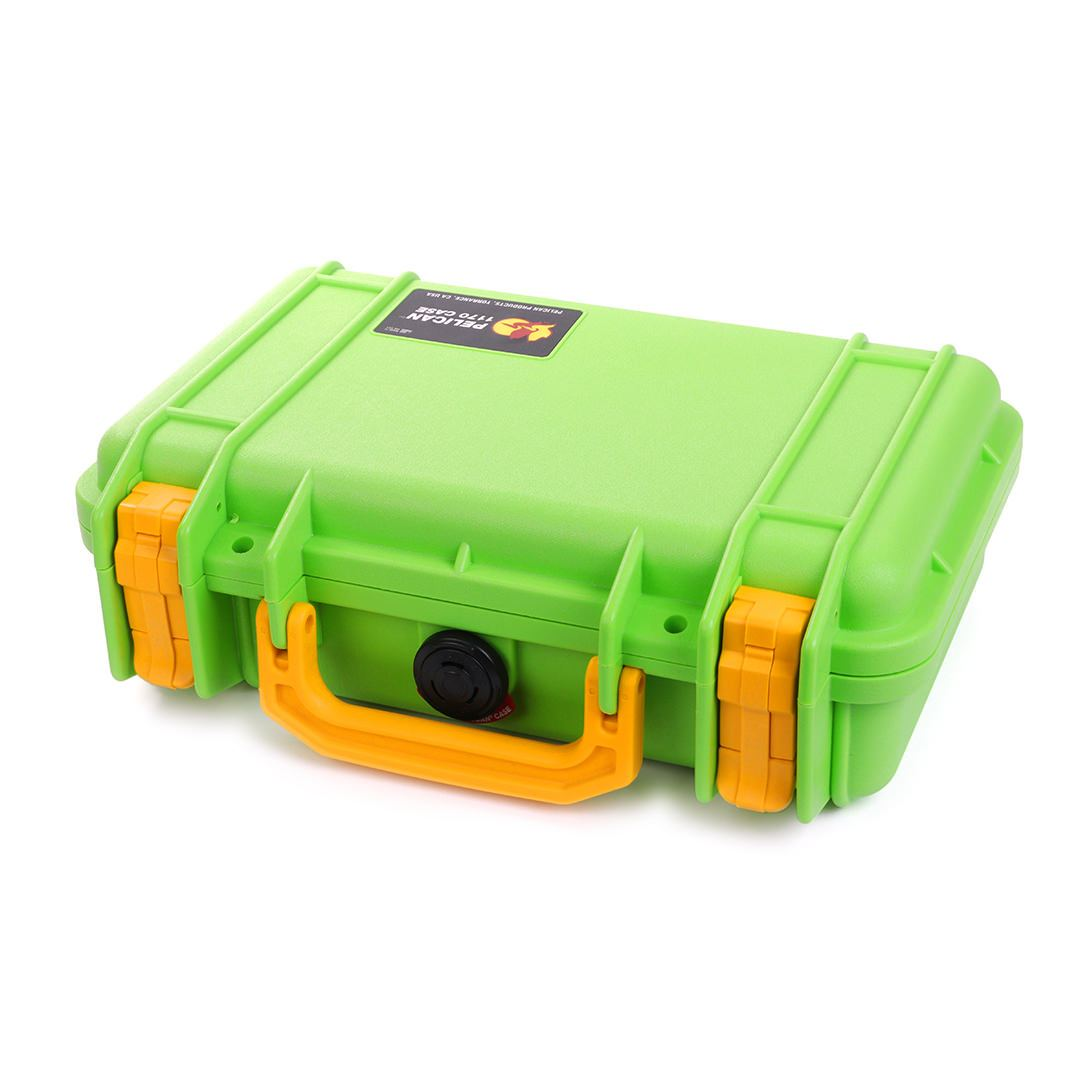Pelican 1170 Case, Lime Green with Yellow Handle & Latches - Pelican Color Case