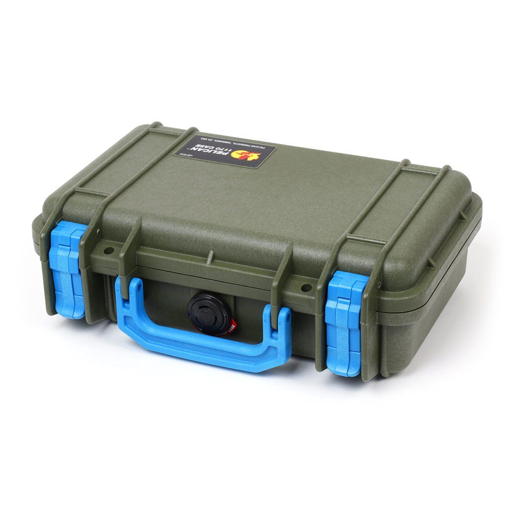 Pelican 1170 Case, OD Green  with Blue Handle & Latches - Pelican Color Case