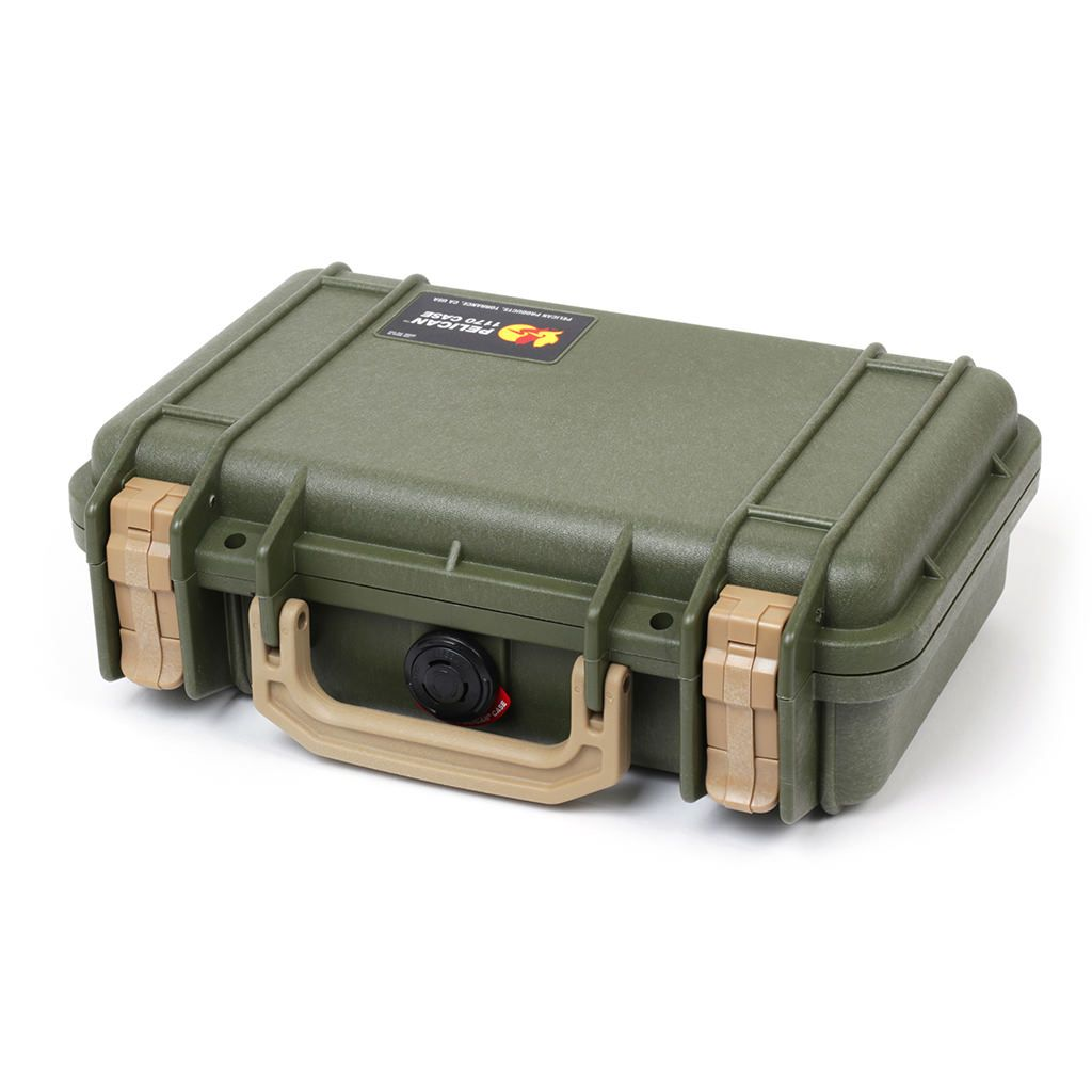 Pelican 1170 Case, OD Green with Desert Tan Handle & Latches - Pelican Color Case