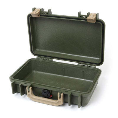 Pelican 1170 Colors Series, OD Green Protector Case with Desert Tan Handle & Latches, Customizable Accessory Bundles - Pelican Color Case
