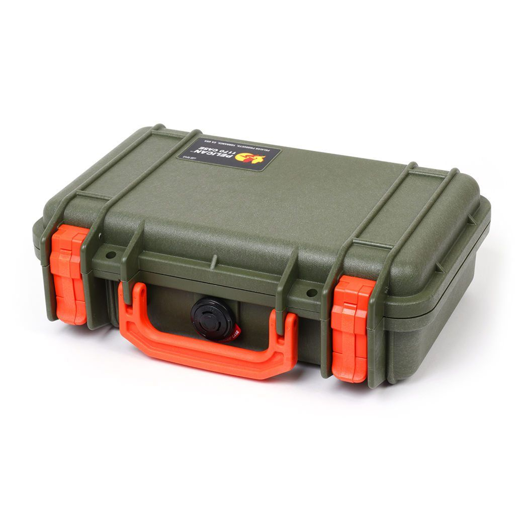 Pelican 1170 Case, OD Green with Orange Handle & Latches - Pelican Color Case