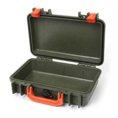 Pelican 1170 Colors Series, OD Green Protector Case with Orange Handle & Latches, Customizable Accessory Bundles - Pelican Color Case