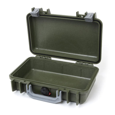 Pelican 1170 Colors Series, OD Green Protector Case with Silver Gray Handle & Latches, Customizable Accessory Bundles - Pelican Color Case