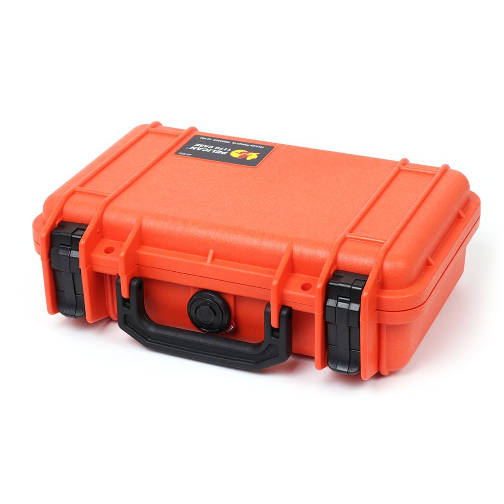 Pelican 1170 Case, Orange with Black Handle & Latches - Pelican Color Case