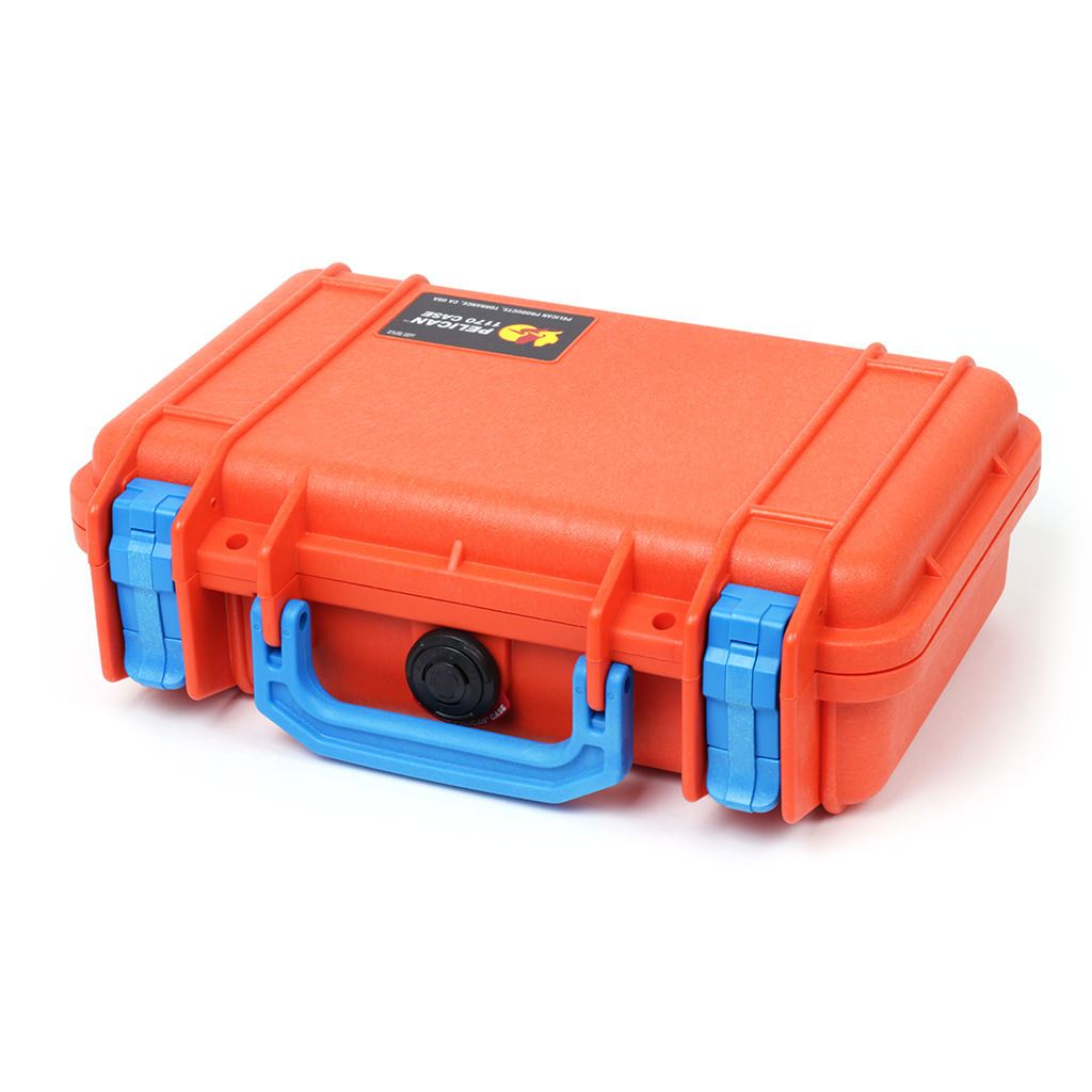 Pelican 1170 Colors Series, Orange Protector Case with Blue Handle & Latches, Customizable Accessory Bundles - Pelican Color Case