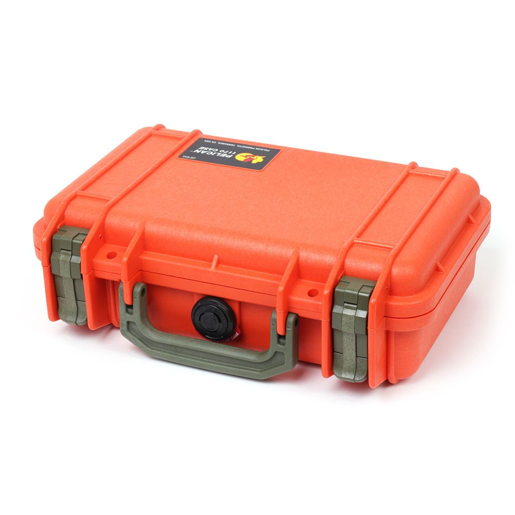 Pelican 1170 Case, Orange with OD Green Handle & Latches - Pelican Color Case