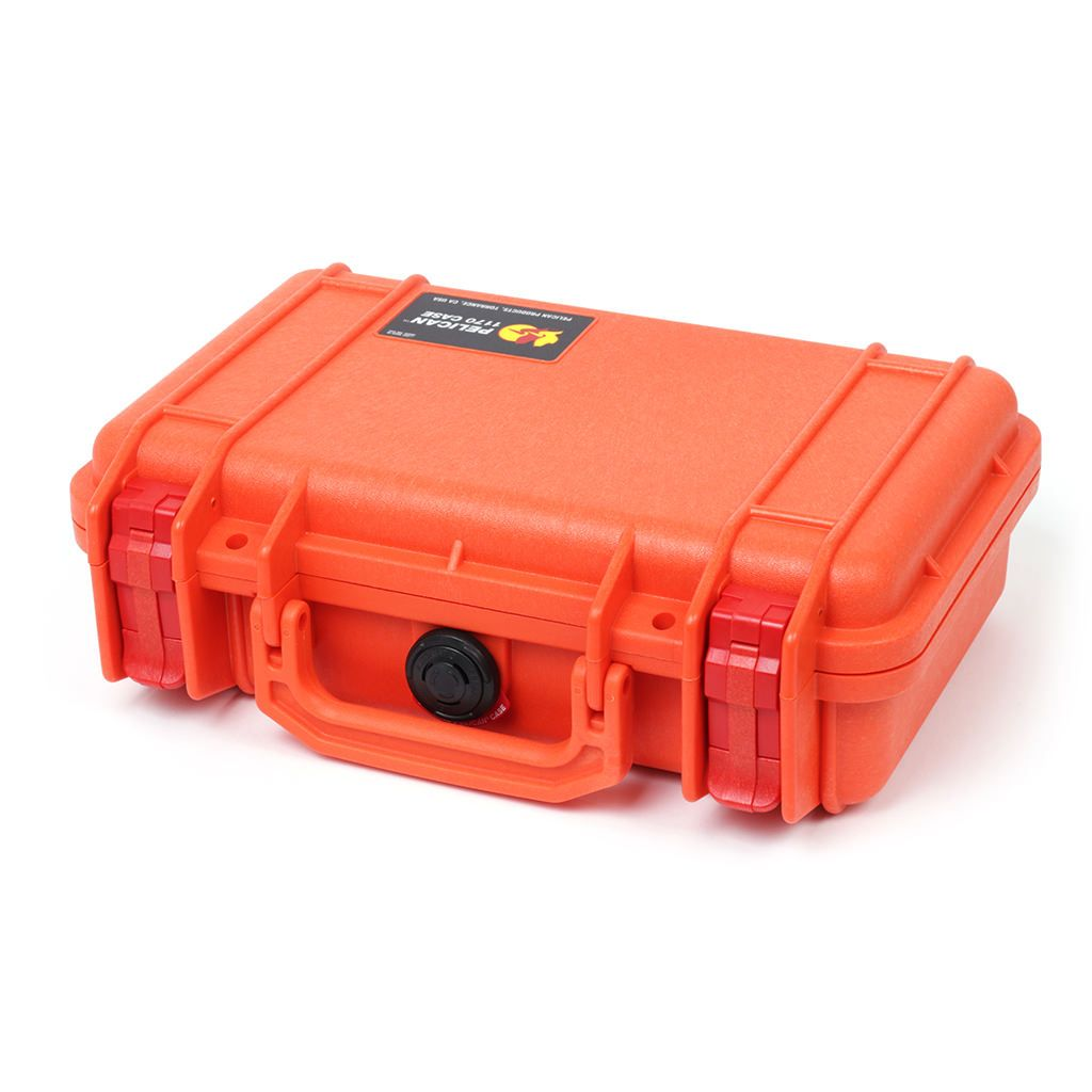 Pelican 1170 Case, Orange with Red Latches - Pelican Color Case