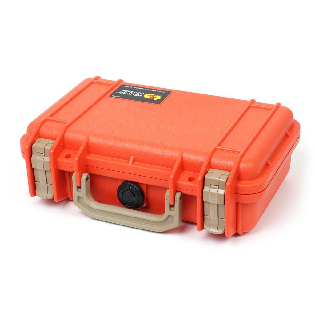 Pelican 1170 Colors Series, Orange Protector Case with Desert Tan Handle & Latches, Customizable Accessory Bundles - Pelican Color Case