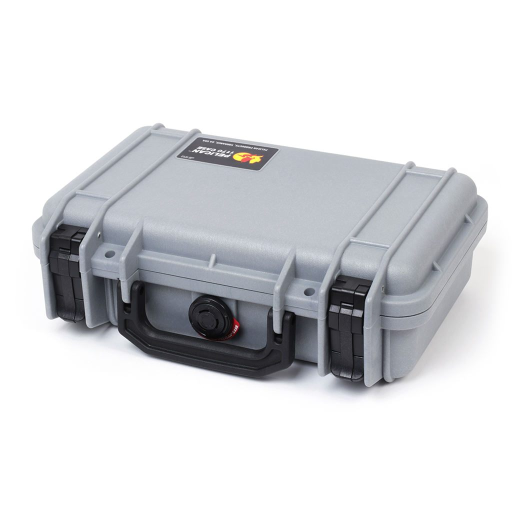 Pelican 1170 Colors Series, Silver Gray Protector Case with Black Handle & Latches, Customizable Accessory Bundles