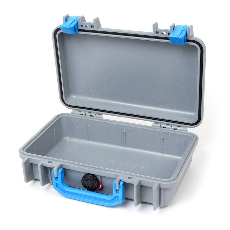 Pelican 1170 Colors Series, Silver Gray Protector Case with Blue Handle & Latches, Customizable Accessory Bundles