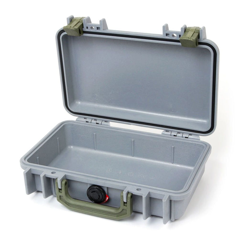 Pelican 1170 Case, Silver with OD Green Handle & Latches - Pelican Color Case