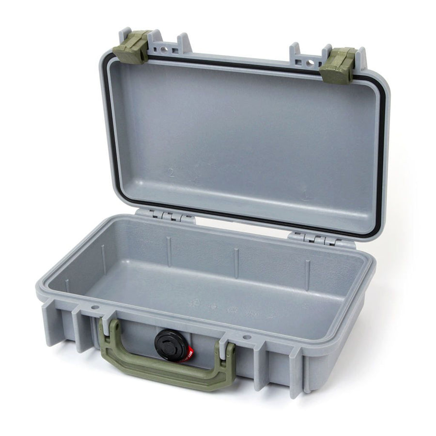Pelican 1170 Colors Series, Silver Gray Protector Case with OD Green Handle & Latches, Customizable Accessory Bundles