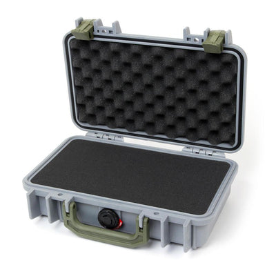 Pelican 1170 Colors Series, Silver Gray Protector Case with OD Green Handle & Latches, Customizable Accessory Bundles - Pelican Color Case