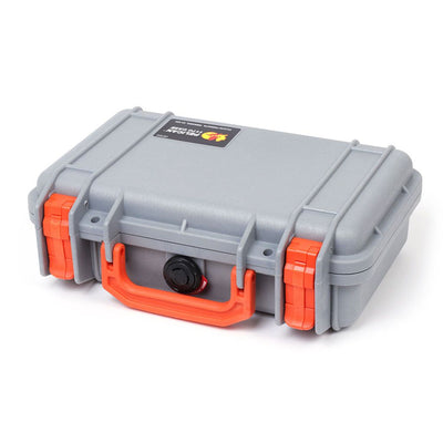 Pelican 1170 Case, Silver with Orange Handle & Latches - Pelican Color Case