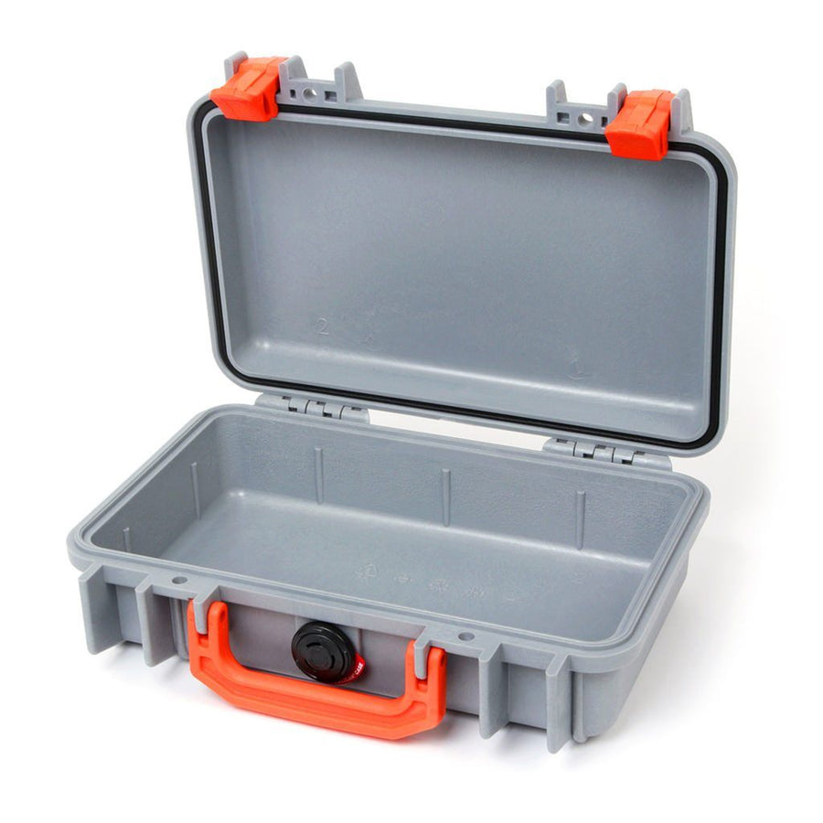 Pelican 1170 Colors Series, Silver Gray Protector Case with Orange Handle & Latches, Customizable Accessory Bundles - Pelican Color Case