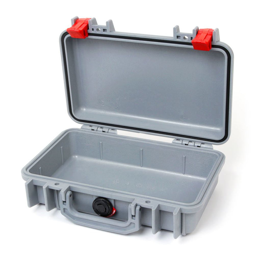 Pelican 1170 Colors Series, Silver Gray Protector Case with Red Latches, Customizable Accessory Bundles