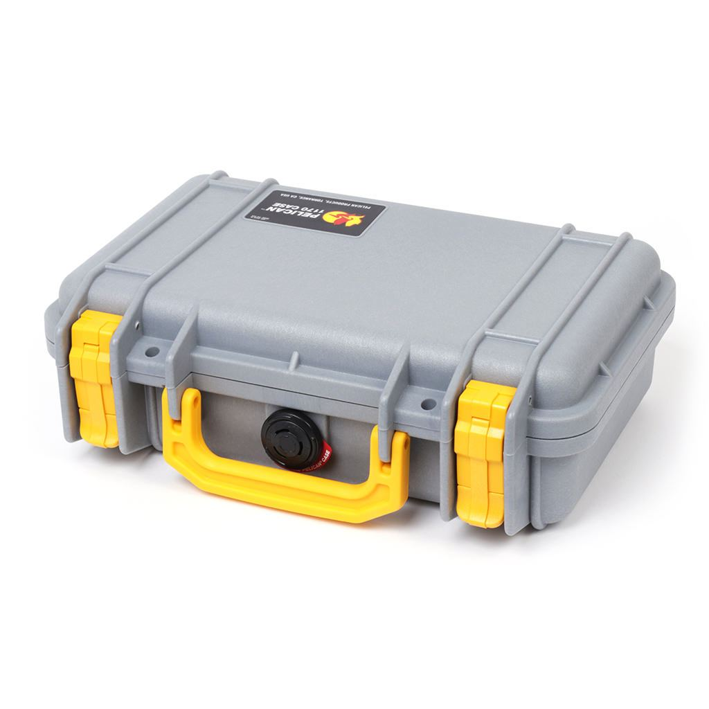 Pelican 1170 Case, Silver with Yellow Handle & Latches - Pelican Color Case
