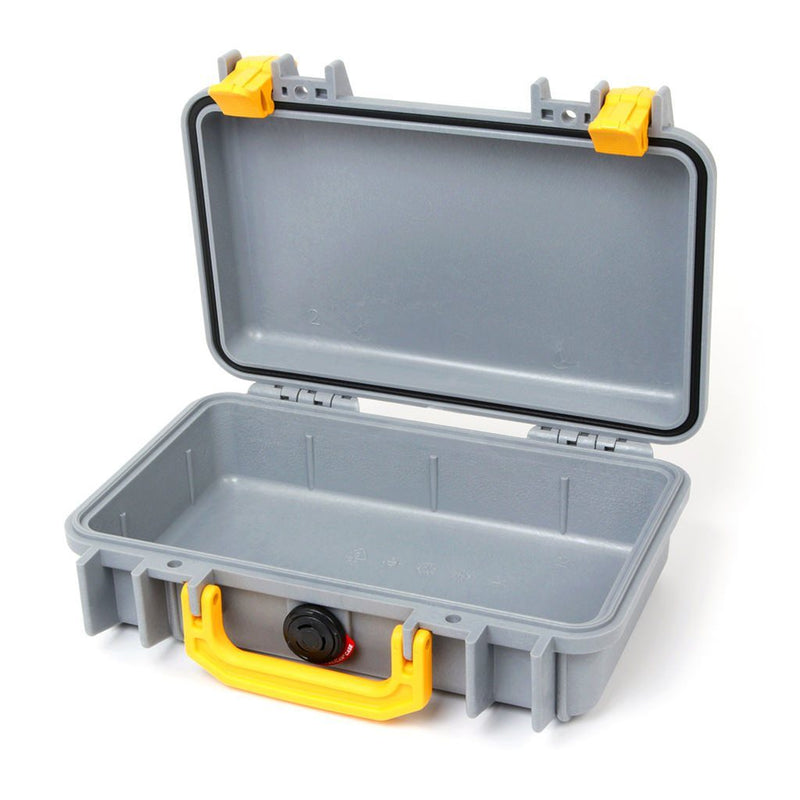 Pelican 1170 Colors Series, Silver Gray Protector Case with Yellow Handle & Latches, Customizable Accessory Bundles