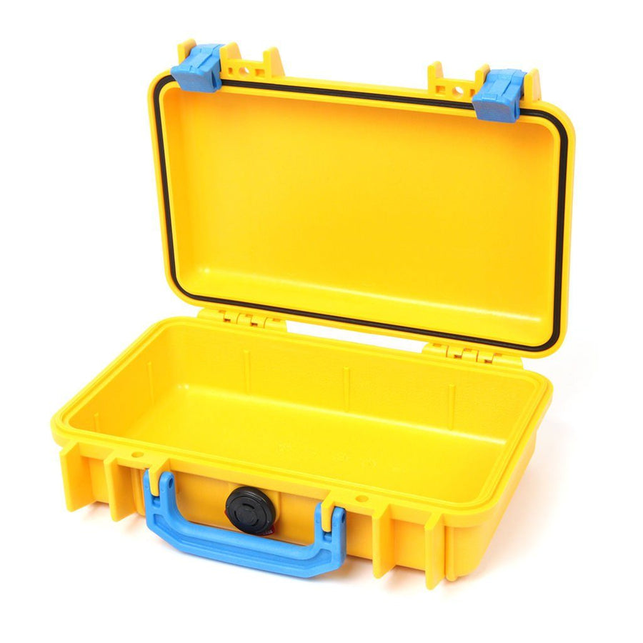 Pelican 1170 Colors Series, Yellow Protector Case with Blue Handle & Latches, Customizable Accessory Bundles