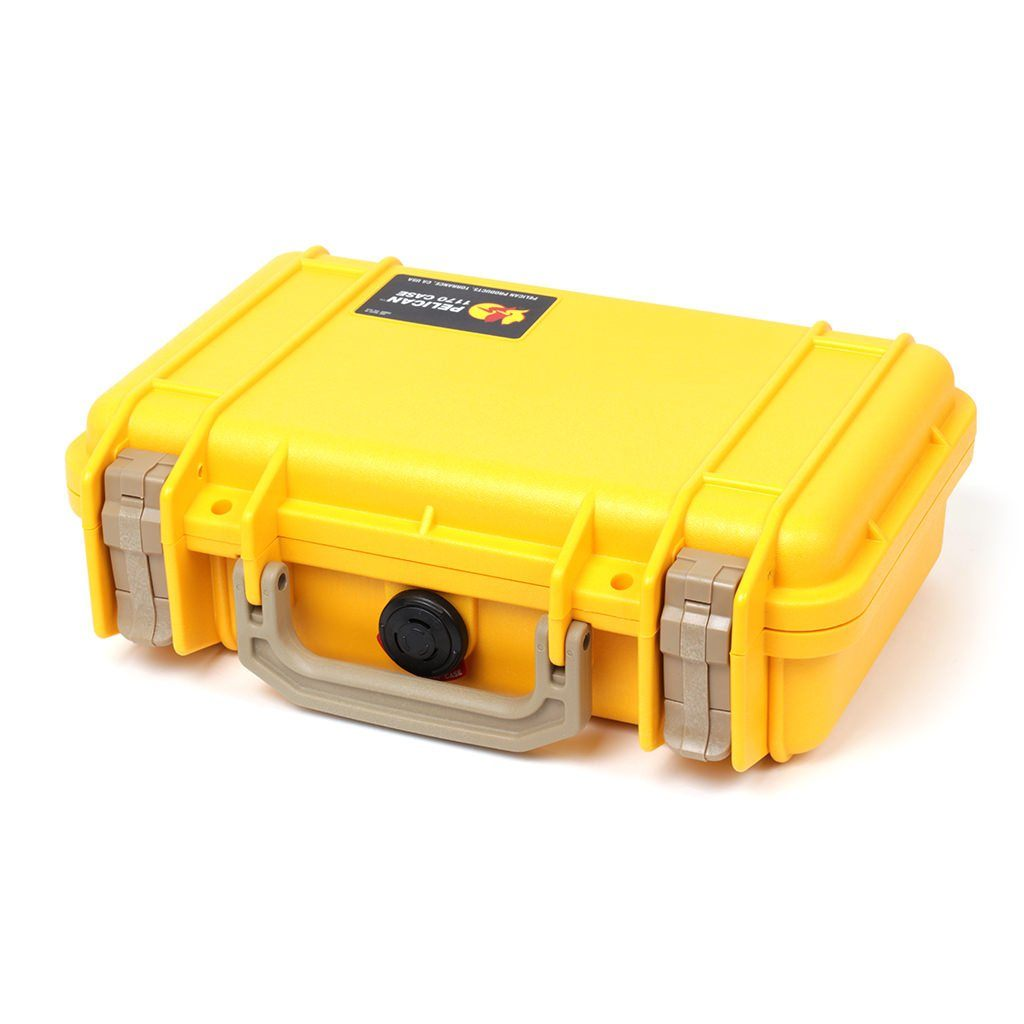 Pelican 1170 Case, Yellow with Desert Tan Handle & Latches