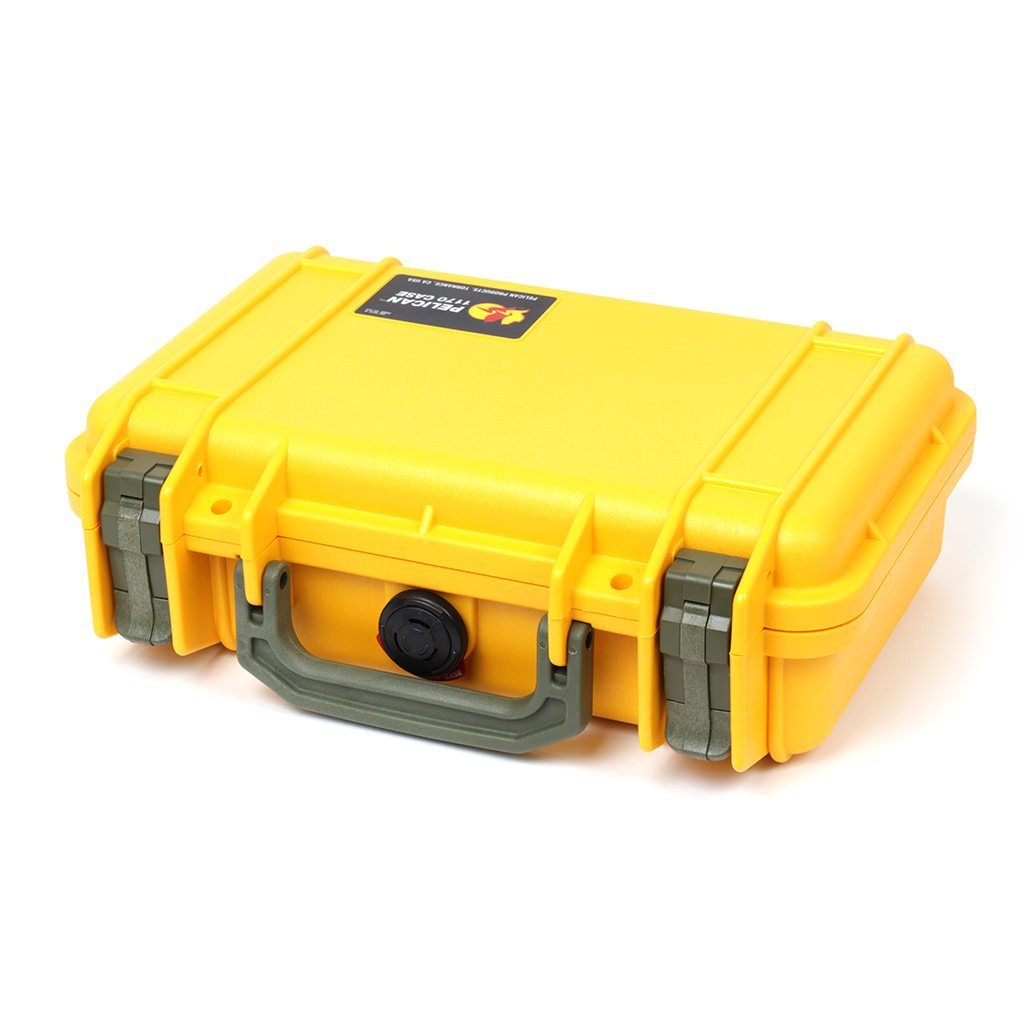 Pelican 1170 Case, Yellow with OD Green Handle & Latches