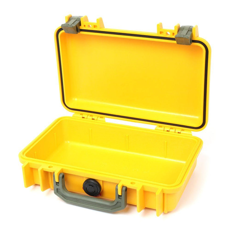 Pelican 1170 Colors Series, Yellow Protector Case with OD Green Handle & Latches, Customizable Accessory Bundles