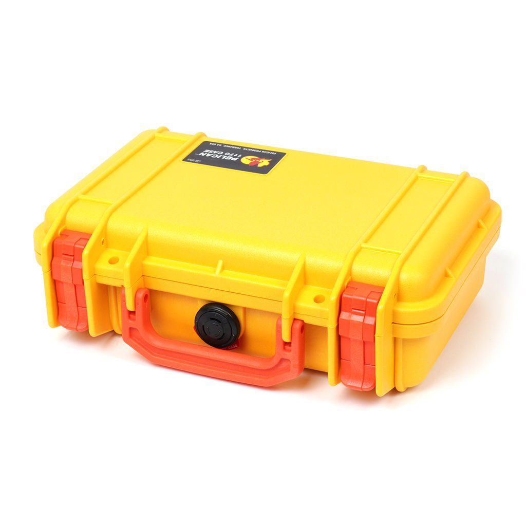 Pelican 1170 Case, Yellow with Orange Handle & Latches