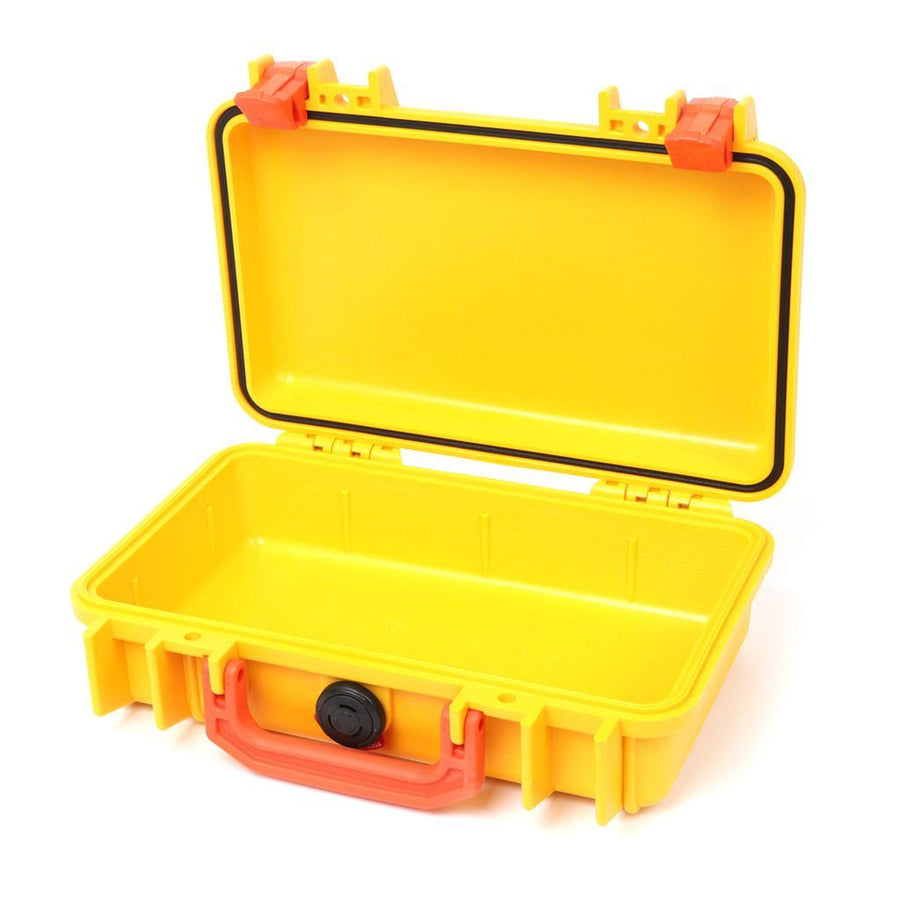 Pelican 1170 Colors Series, Yellow Protector Case with Orange Handle & Latches, Customizable Accessory Bundles