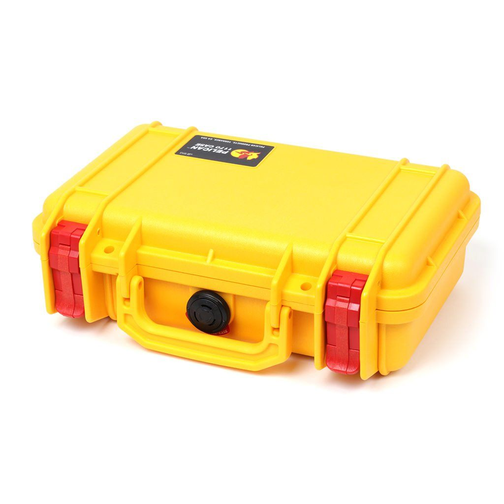 Pelican 1170 Colors Series, Yellow Protector Case with Red Latches, Customizable Accessory Bundles