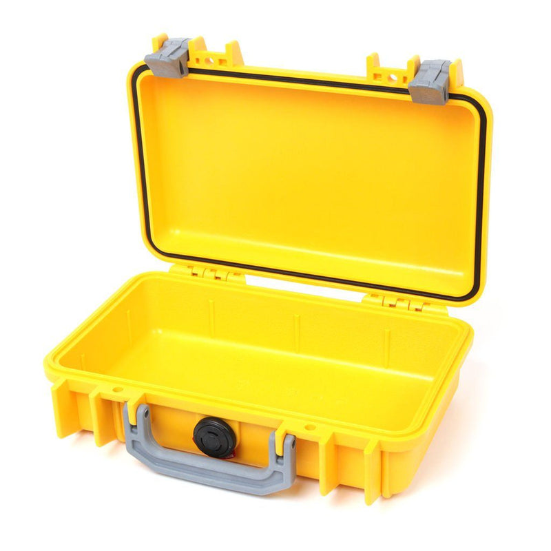 Pelican 1170 Colors Series, Yellow Protector Case with Silver Gray Handle & Latches, Customizable Accessory Bundles