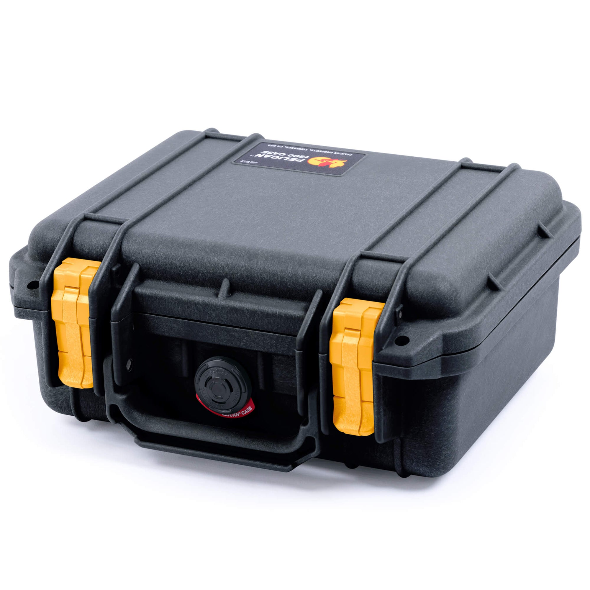 Pelican 1200 Case, Black with Yellow Handle & Latches - Pelican Color Case