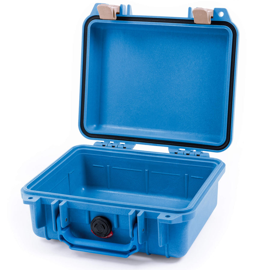 Pelican 1200 Case, Blue with Desert Tan Handle & Latches