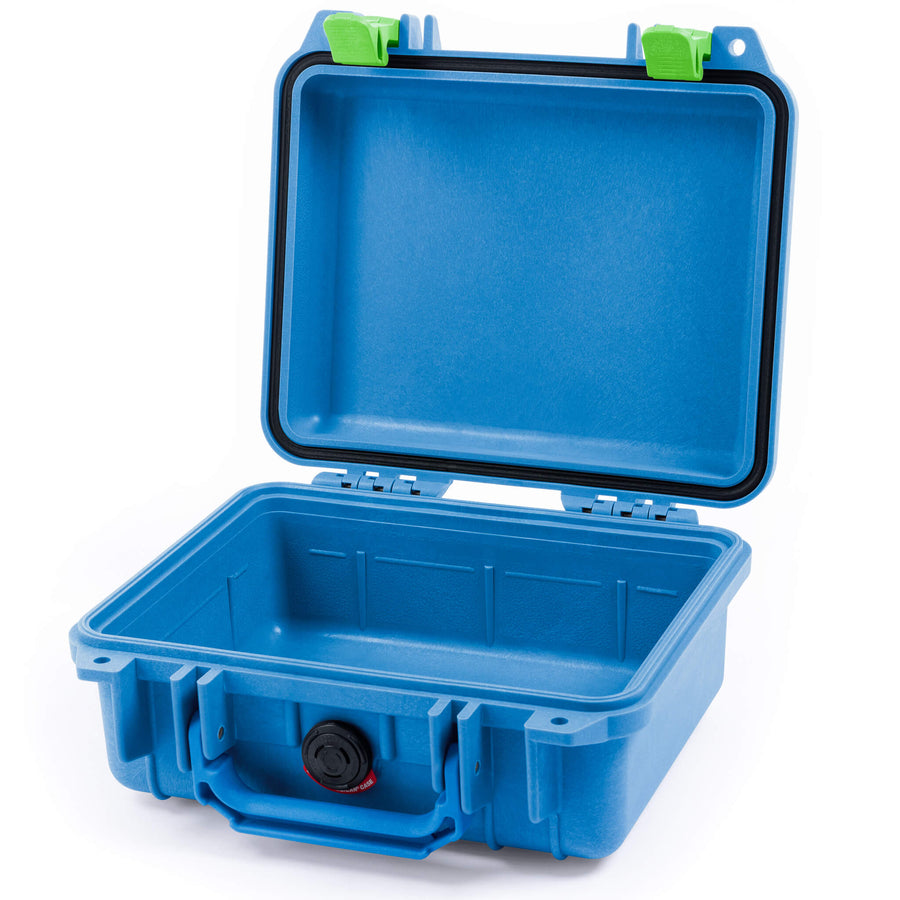 Pelican 1200 Case, Blue with Lime Green Handle & Latches