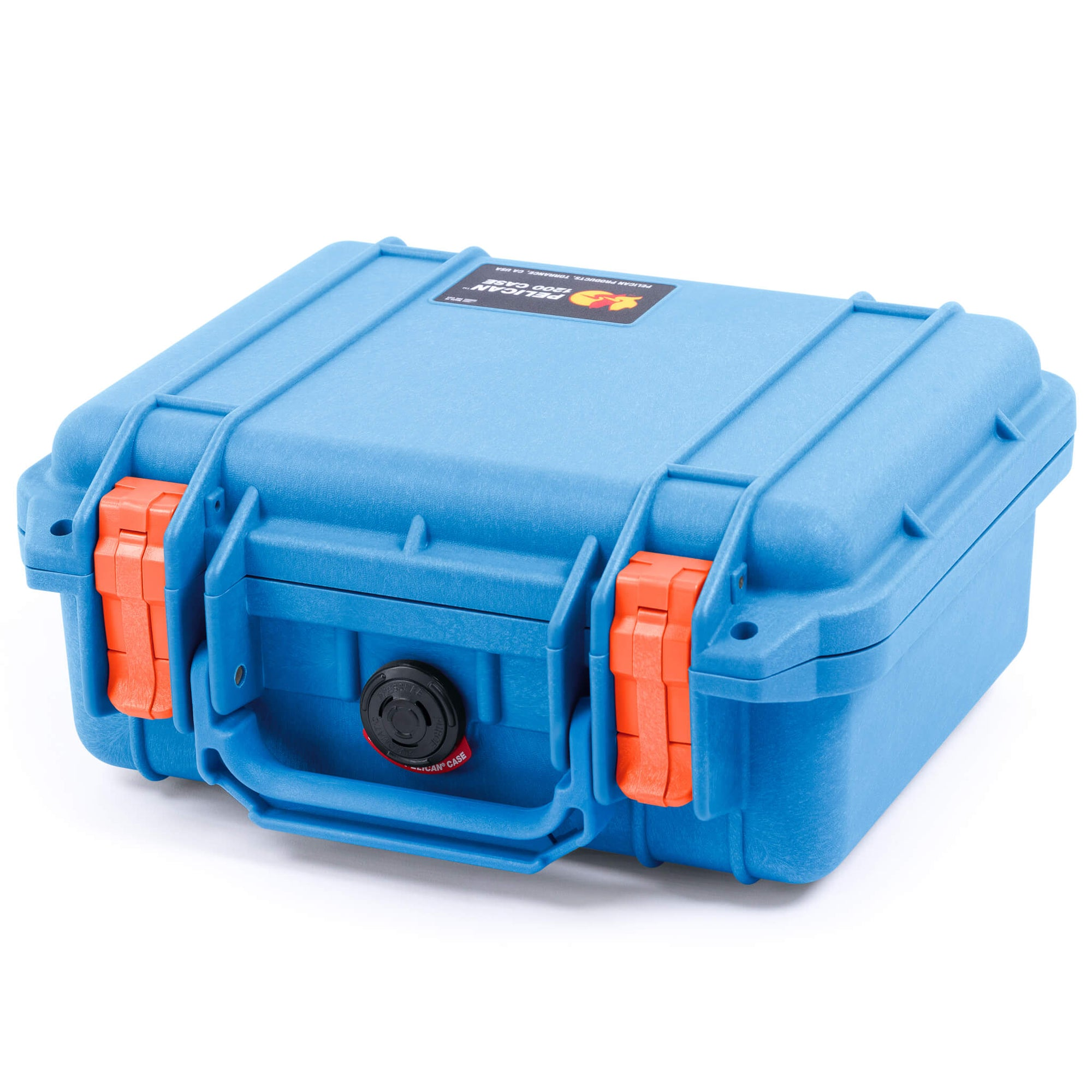 Pelican 1200 Case, Blue with Orange Handle & Latches - Pelican Color Case