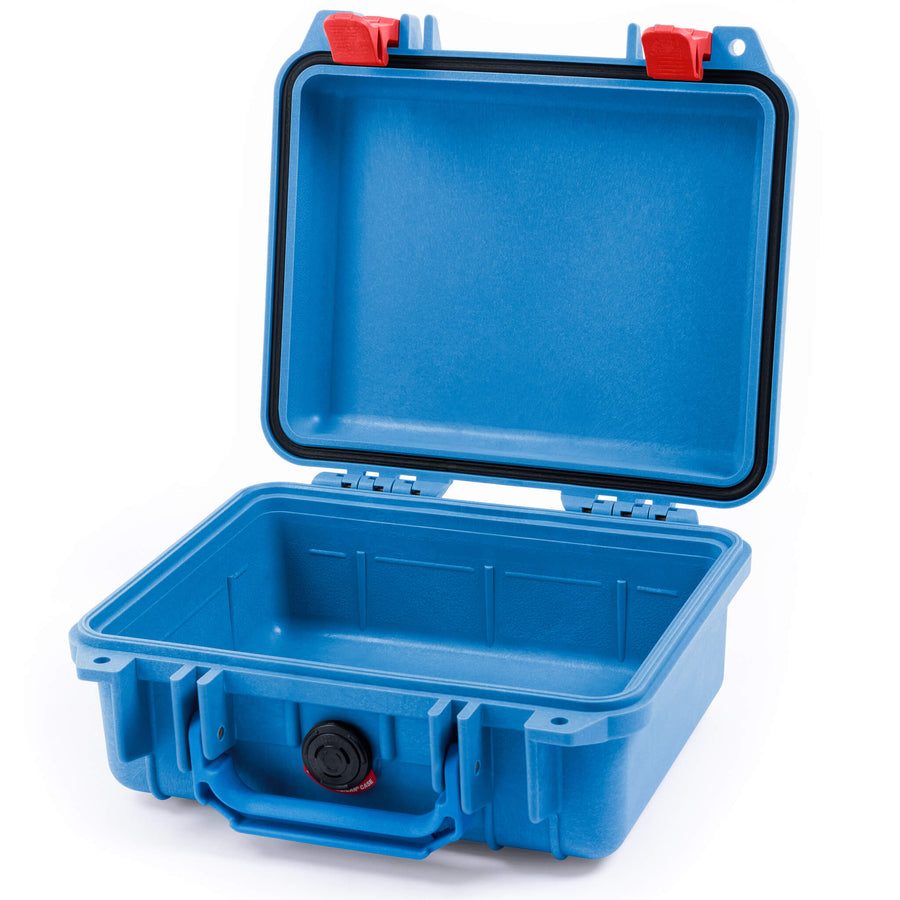 Pelican 1200 Case, Blue with Red Handle & Latches